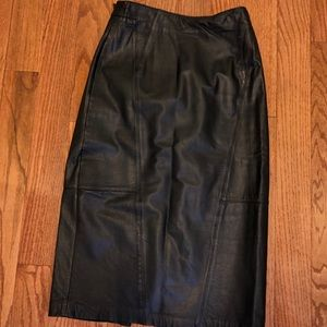 Pelle Vintage Black Genuine Leather Skirt Size 10